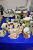 COLLECTION OF HORNSEA, WITHENSEA AND OTHER VASES AND PLANTERS DECORATED WITH ANIMALS