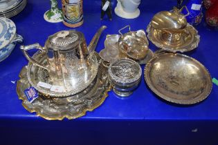 QTY OF SILVER PLATED SERVING TRAYS, TAZZAS, TEA POT, ROSE BOWL, SUGAR BASIN ETC