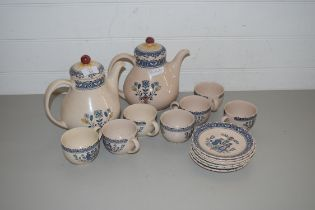 QTY OF JOHNSON BROS OLD GRANITE HEARTS AND FLOWERS PATTERN TEA WARES