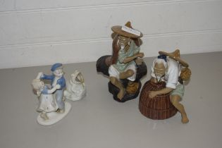 TWO CHINESE MODELS OF FIGURES, A FURTHER FIGURE GROUP AND A MODEL FROG (4)