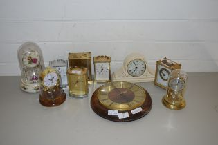 MIXED LOT OF NINE MODERN CARRIAGE AND MANTEL CLOCKS AND A FURTHER WALL CLOCK