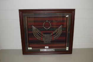 SAUDI ARABIAN WHITE METAL NECKLACE AND BANGLE SET IN A GLASS FRONTED PRESENTATION CASE MARKED 'SAUDI