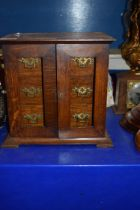 LATE VICTORIAN OAK THREE DRAWER TABLE TOP CHEST