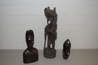 THREE AFRICAN HARDWOOD FIGURES
