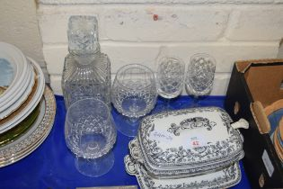 SMALL VICTORIAN BLACK AND WHITE SAUCE TUREEN WITH STAND TOGETHER WITH A CLEAR GLASS DECANTER AND