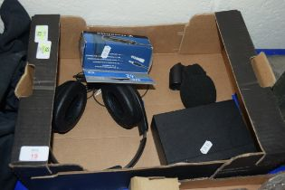 STEREO MICROPHONE AMPLIFIER PLUS HEADPHONES AND EXTENSION CABLE ETC