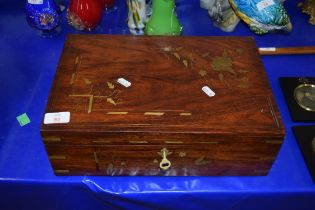 HARDWOOD BOX WITH FITTED INTERIOR AND BRASS INLAID DECORATION