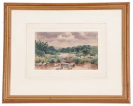 British, contemporary, Landscape depicting a tributary under heavy clouds, watercolour, signed, 6