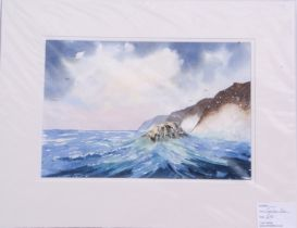 Frank Halliday (British, 20th century), A pair of coastal scenes, watercolour, signed, mounted and