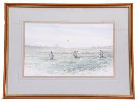 Jason Partner (British, 20th century), Three shoot-beaters at work, watercolour on paper, signed, 10