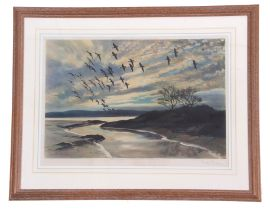 After Sir Peter Scott (British, 20th century), Greylag Geese in flight, pub by Arthur Ackermann,