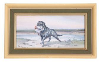 Jason Partner (British, 20th century), A black retriever with Mallard, watercolour, signed by