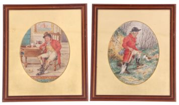 An attractive pair of British 19th century hunting scenes, pencil, watercolour, indistinctly signed,