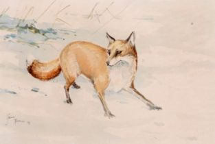 Jason Partner (British, 20th century), 'The Vixen', pencil and watercolour on paper, signed 1979,
