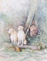 Jason Partner (British, 20th century), Gundogs after the shoot, watercolour laid on paper, signed by