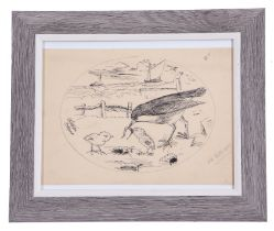 A H Patterson (British, 19th century), Shorebirds with boats in distance, pencil, pen on paper,