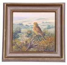 Richard Tratt (British, contemporary), a Yellowhammer overlooking farmland, oil on board, signed,