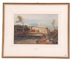 Samuel Prout (British, 19th century), Rural figures angling from a bridge, watercolour, signed, 8