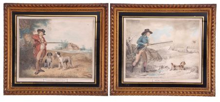 After George Morland (British, 18th century), A pair of hunting engravings titled 'Partridge