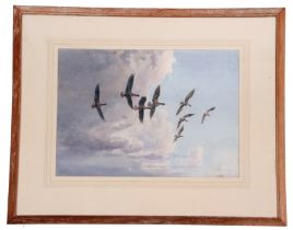John Cyril Harrison (British, 20th C), White Fronted Geese in stormy sky, watercolour