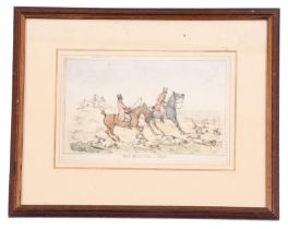 British, 19th century, A set of four hunting scenes, coloured engravings, 6 x 9ins
