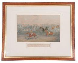 After Samuel Henry Alken (British, 19th century), 'A Hurdle Race', c1835: Pl 1 'Preparing to start