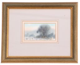 British, 20th century, A small winter landscape with game birds in the foreground, watercolour,