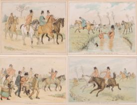 A set of four hunting cartoons from 'A Hurdle Race', coloured prints, 6.5 x 9.5ins