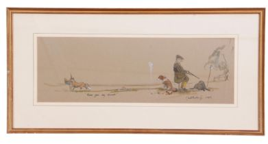 British, contemporary, Satirical sketch of a driven shoot, pen and wash on laid paper, inscribed '