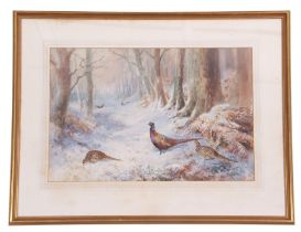 Roland Green (British, 20th century), Pheasants wintering, watercolour laid on paper, signed