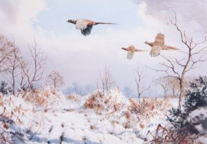 After J C Harrison (British, 20th century), Pheasants in the Snow, Planographic print, published