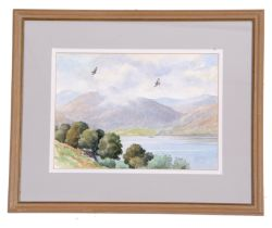 Bruce Henry (British, contemporary), Buzzards soaring above a lake, watercolour, signed, 8 x 12ins
