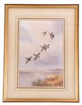 Roland Green (British, 20th century), Mallards on the wing, watercolour laid on paper, signed, 17