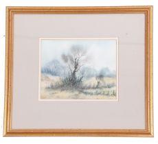 Trevor Parkin (British, 20th century), Autumnal Landscape, watercolour, signed, 8 x 9ins