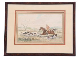 Circle of C W Cotton (British, 19th century), A pair of hunting scenes, pencil and watercolour on