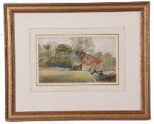 William J. Willcox (British 19th Century) 'Old Mill, Christchurch, Dorset, watercolour, 5 x 9ins