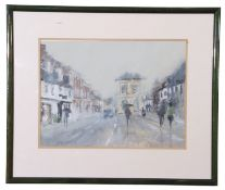 George Gill (British 20th Century), Street scene, Ware, Herts, watercolour, signed, 10 x 13.5ins