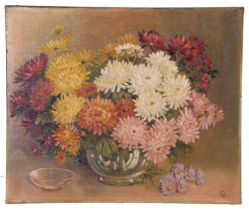 British 20th Century, Chrysanths in a vase, oil on canvas, signed withi monogram 'CD', unframed,