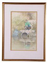 John Hunt (British 20th Century), 'The Wait', pencil, watercolour, signed, 6.5 x 10ins