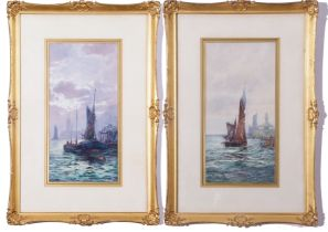 F W Scarborough (British, 19th century), Fishing boats in harbour (2), watercolour, signed, 7 x