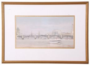 John Hunt (British 20th Century), Thames riverboat westward-bound overlooked by Southwark and