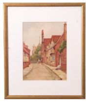 British 20th Century, A village lane with figures in the distance, watercolour, 5 x 7ins