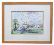 British 20th Century, A sketch of a farmstead under clouds, pen, watercolour, unsigned, 11 x 15ins
