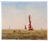 Continental School, boats off to fishing grounds beyond, oil on canvas, unsigned and unframed, 20