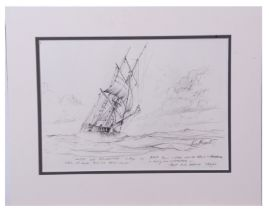 Kenneth Grant (British 20th Century), A pair of preparatory seascape sketches of trading brigs in