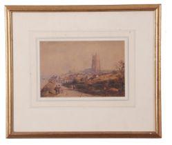 Richard Pratchett Noble (British 19th Century), Clifftop coastal village, watercolour, signed, 5 x