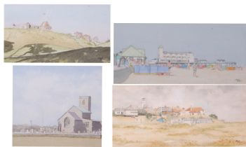 John Hunt (British 20th Century), East Anglian landscapes, including Beach Huts, Southwold and