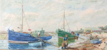 Jean Kevan (British 20th Century), 'Bringing in the Catch at Leigh' , oil on board, signed,