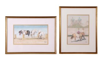 John Hunt (British, 20th century), A child riding a beach pony and a team resting (2), pencil,