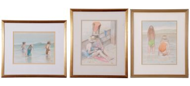 John Hunt (British 20th Century), Three separate pictures of bathers (x3), pencil, watercolour,